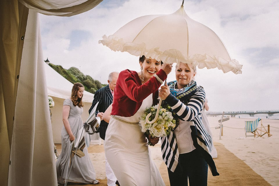 Bride enters Bournemouth Beach venue